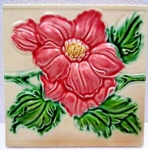 VINTAGE TILE ROSE DESIGN HIGH EMBOSSED ART NOUVEAU COLLECTIBLES MADE IN JAPAN  2