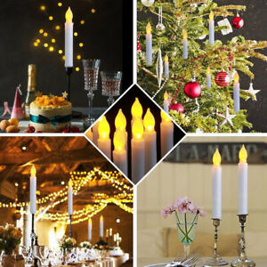 6PCS Battery Operated LED Flameless Taper Flickering Candles Lights Party Decor