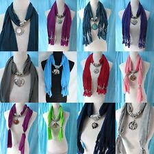 *US Seller*lot of 5 wholesale scarf necklace with charm necklace pendant slides