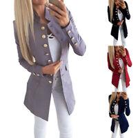 UK Women OL Long Sleeve Slim Fit Casual Blazer Suit Ladies Jacket Coat Outwear