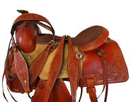 15 17 WESTERN SADDLE ROPING RANCH HORSE TRAIL PLEASURE USED LEATHER TACK SET