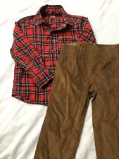 Carters Boy Toddler Size 3T 2piece Red Plaid Shirt With Brown Pants
