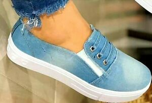 Womens Slip On Denim Casual Sneakers Loafers Ladies Flat Sport Shoes size 8  39