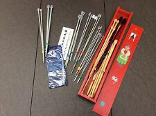 18 PAIRS KNITTING NEEDLES (PLASTIC/METAL/WOODEN)1 X CIRCULAR, & WOOD STORAGE BOX