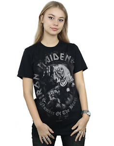 Iron Maiden Women's Number Of The Beast Greytone Boyfriend Fit T-Shirt