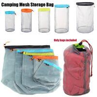 Ultralight Mesh Stuff Sack Drawstring Storage Bag Travel Camping Hiking Sports