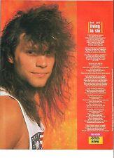 BON JOVI Living in Sin lyrics magazine PHOTO/Poster/clipping 11x8 inches