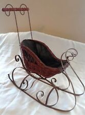 Antique Large Wicker and Metal Doll Sleigh - Victorian Decor - Chr