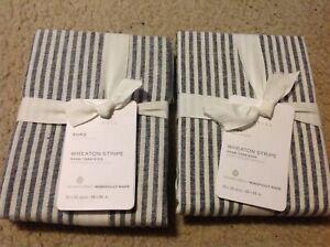2 POTTERY BARN Wheaton Stripe Shams EURO Size Potterybarn Sham white navy NEW