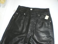 Rubio Leather NY Mens Black Leather Button Fly Pants Sz26 BDSM Fetish Cult Biker