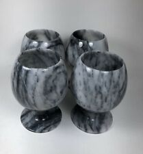 VTG Tequila Carved Grey Marble Footed Set of 4 Marble Shot Glasses
