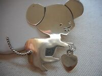 Vintage Sterling Silver Mexico Taxco Mouse W/ Heart Dangle Brooch   252610