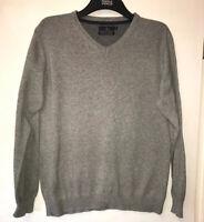 Jeff Banks Size MEDIUM Cashmere Blend Cotton V-neck Jumper Light Grey Autumn
