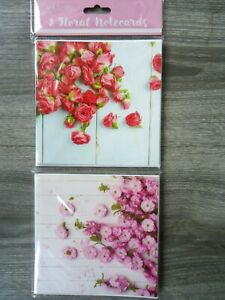 8 NOTECARDS - ROSES - blank : thank you - any message - notelets FLOWERS FLORAL