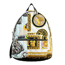 Versace Men's DFZ6617 Multi-Color Quilted Large Backpack Bag