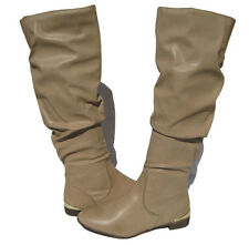 New Ladies Fashion Knee High Boots shoes Beige Taupe winter snow Women's size 8