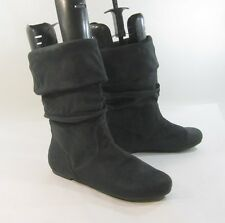 Black Flat Round Toe Comfortable Sexy Mid-Calf Boot Size 6.5