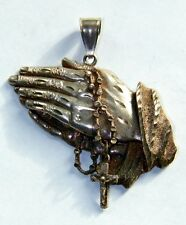 LARGE STERLING ROSARY & PRAYING HANDS PENDANT - MEDAL