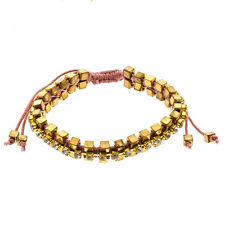 Pink String Cord Adjustable Size Gold Cube Bead Rhinestone Friendship Bracelet