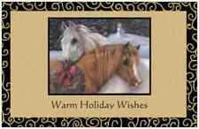 20 CHRISTMAS Two HORSES & Wreath Flat 5x7 Cards Envelopes Seals HOLIDAY Greeting