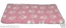 2 pieces x 60cm x 37cm Pre Cut Vet Bed Fleece Pink white Paw Whelping puppy Dog
