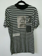 "Cheap Monday ""On Dress"" Dress T-Shirt Striped Grey Black Patch Detail Size XS"
