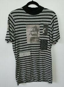 """Cheap Monday """"On Dress"""" Dress T-Shirt Striped Grey Black Patch Detail Size XS"""