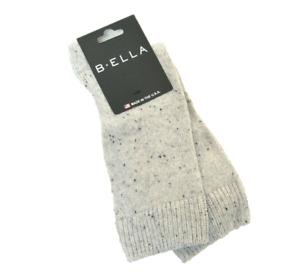 B. Ella Ladies 86% CASHMERE Crew Socks Moda Speckled Light Grey Charcoal - NEW