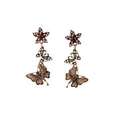 NEW Urban Anthropologie Vintage Flower Butterfly Dragonfly Red Green Bead Earrin