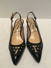 J Renee Black Patent Pointed Toe Slingback Dress Adalyn Shoe Ladies 6.5 Medium