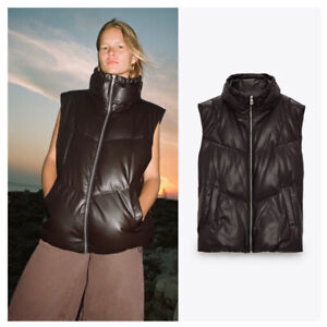 NWT ZARA Faux Leather Padded Vest SOLD OUT Item Size XS (Fit S/M)