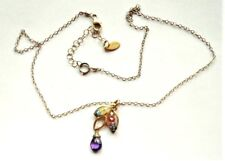 """Beautiful Signed Mashka Gold Plated Sterling Silver Multi Gemstones Necklace 18"""""""