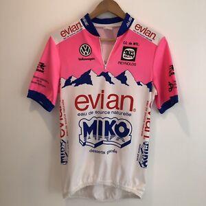 Men's VNTG Rare Aussie Miko Evian Volkswagen Cycling Jersey Sz Large Pink Blue