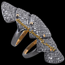 Silver Vintage Style Knuckle Ring Jewelry 6.59cts Genuine Pave Rose Cut Diamond