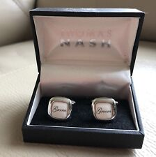 Groom Mens Cufflinks White Enamel Square Thomas Nash Gift For Him Boxed