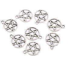 10pcs Round Star Beads Charm Tibetan Silver Pendant DIY Necklace 20*18mm