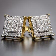 XL 925 STERLING SILVER LAB DIAMOND SQUARE GOLD STUD EARRING 17mm x 17mm E232
