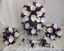Purple White Full Wedding Set ~ Calla Lilies Roses Silk Wedding Flowers Bouquet