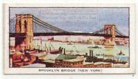 Brooklyn Bridge New York City East River Manhattan 1930s Ad Trade Card