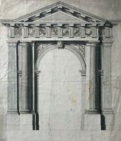Dessin Ancien Original XVIIIème - Architecture, Projet, Façade