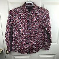 New NWT Women's J.Crew Liberty Art Fabrics Tie Neck Tuxedo Shirt Floral Size 10