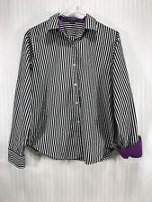 Lauren Ralph Lauren Black/White Striped Button Up Long Sleeve Blouse Women's M