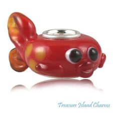 RED TROPICAL FISH LAMPWORK MURANO GLASS .925 Sterling Silver EUROPEAN Bead Charm