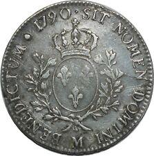 O1523 RARE Ecu Louis XVI 1790 M Toulouse Argent Silver ->F offre