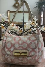 Coach Kristin Sequin Op Art Ivory Pink Hobo Shoulder Hand Bag 16791