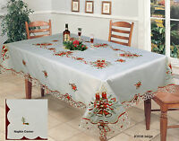 Holiday Christmas Bell Red Poinsettia Candle Tablecloth With Napkins Beige 3838E