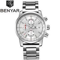 BENYAR Men Business Fashion Stainless Steel Quartz Wrist Watch Date Chronograph