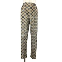Issey Miyake Pleats Please Straight Leg Trousers Pants Geo Print Beige/Navy 1