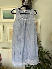 M&S Blue Cotton Broderie Anglaise Nightie Nightdress Sz 14