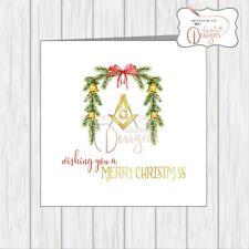 Masonic Christmas Card Masons Compass Symbol Xmas Garland Wreath With Bells